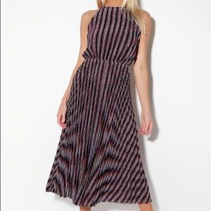 Purple Multi Striped Pleated Halter Midi Dress